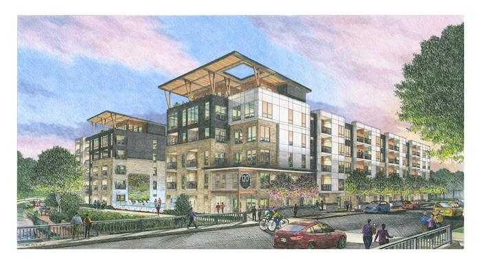 Sketch of the 220-unit luxury apartment complex proposed for 120 9th St. Arist: Risden McElroy.
