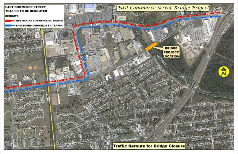 A map of the traffic reroute for the East Commerce Street bridge closure. Courtesy Photo.