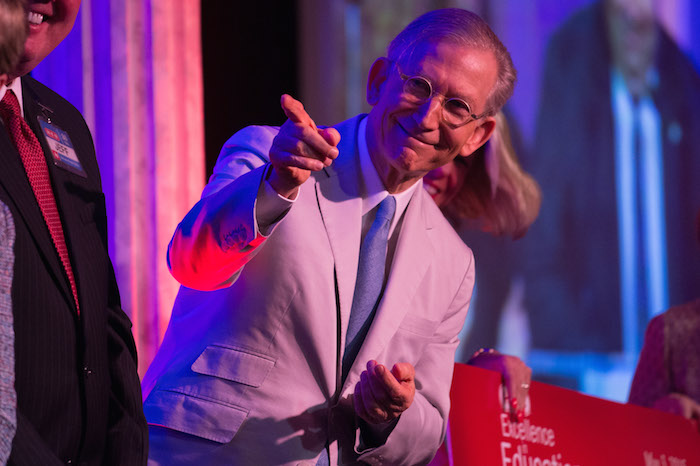 H-E-B chairman and CEO Charles Butt stands on stage during the 2015 H-E-B Excellence in Education Awards on Sunday. Courtesy photo.