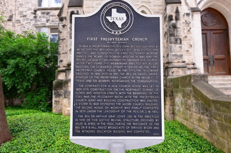 A historical marker tells the history of the church. Photo by Page Graham.