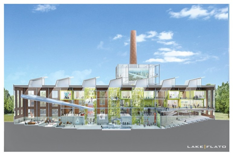 A cross section rendering of the EPIcenter could look like. Courtesy of Lake/Flato Architects.