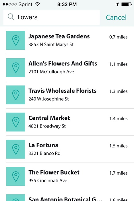 """Screen shot of search for """"flowers"""" on Postmates app."""