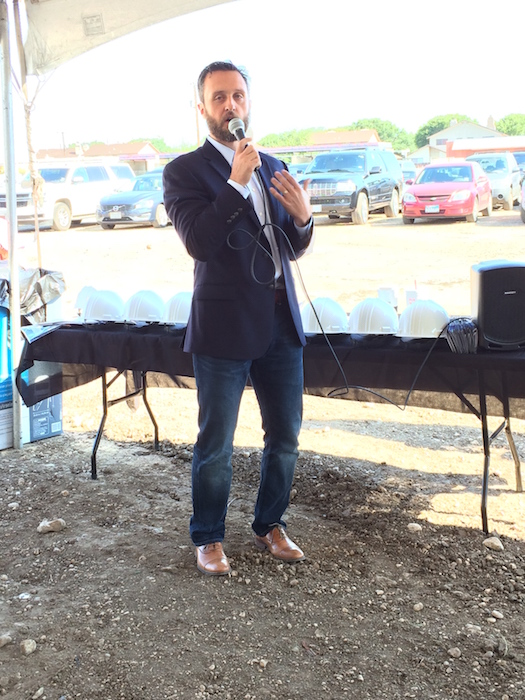 Brandon Seale, board chair of Carpe Diem Innovative Schools - San Antonio welcomes the crowd to the ground breaking for Carpe Diem Innovative Schools - Westwood. Photo by Bekah McNeel