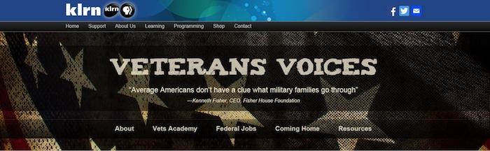 Screen shot of KLRN's Veterans Voices programming.
