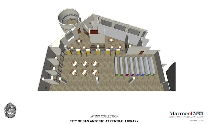 Rendering of Central Library's future space for the Latino Collection. Courtesy of Marmon Mok.