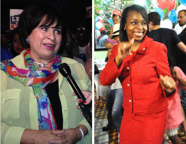 Leticia Van de Putte (left) and Mayor Ivy Taylor celebrate their election wins Saturday at their respective election watch parties. Photos by Joan Vinson and Iris Dimmick.