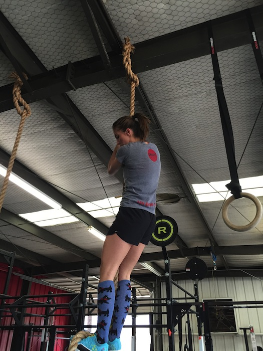 A woman partakes in a rope exercise at CrossFit MBS. Courtesy photo.