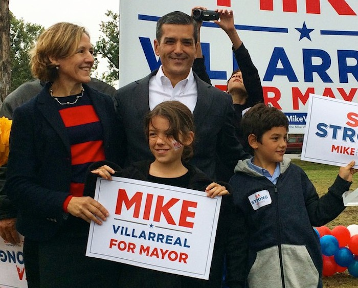 Jeanne Russell and Mike Villarreal with their two children, Bella and Marcos during Villarreal's campaign launch. Courtesy photo.