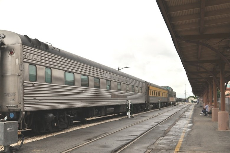 The Millennial Trains Project's three passenger cars parked at Sunset Station. Photo by Iris Dimmick.