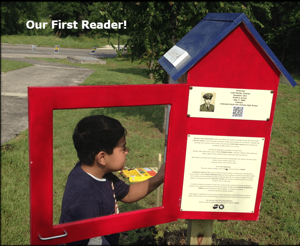 A little library on the South Side's first reader. Courtesy photo.