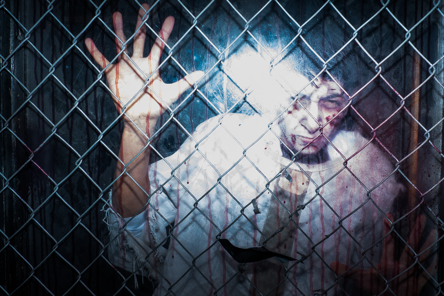 An entertainer at Ripley's Haunted Adventure. Photo by Scott Ball.
