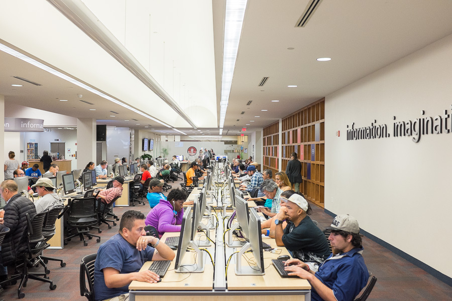 A computer work station at the Central Library in downtown San Antonio. Photo by Scott Ball.