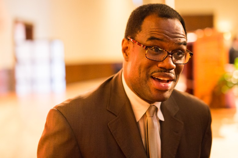 David Robinson speaks with reporters during the IDEA Public Schools luncheon. Photo by Scott Ball.