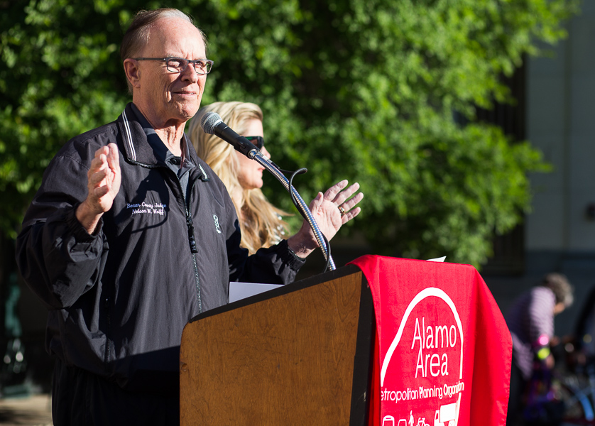 County Judge Nelson Wolff speaks during the 19th annual Walk & Roll Rally. Photo by Scott Ball.