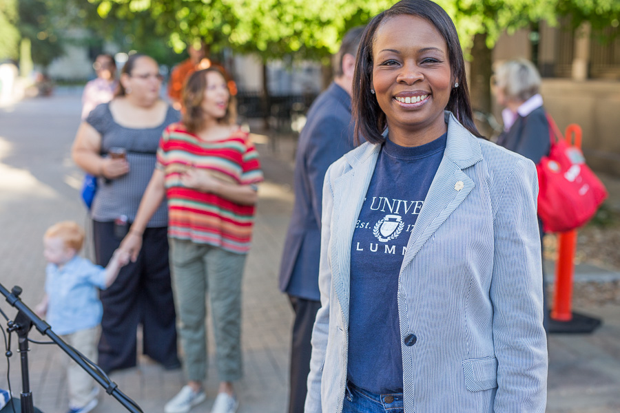Mayor Ivy Taylor poses for a photo during the 19th annual Walk & Roll Rally. Photo by Scott Ball.
