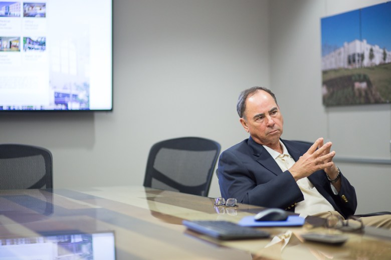 President of Metropolitan Contracting Company, LLC Steve Schuetze talks with The Rivard Report during a meeting. Photo by Scott Ball.