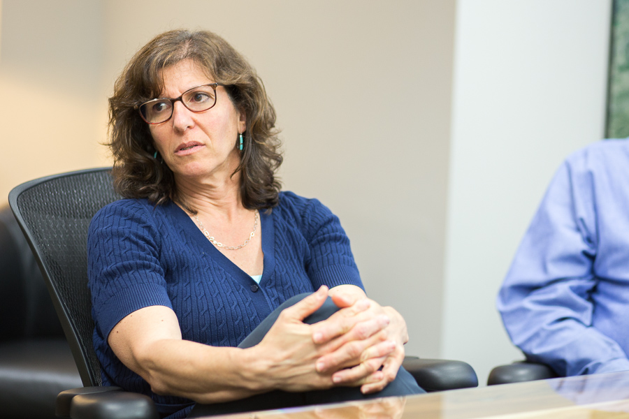 COO of Metropolitan Contracting Company, LLC Jane Feigenbaum talks with The Rivard Report during a meeting. Photo by Scott Ball.