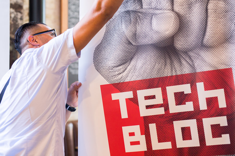 A Tech Bloc banner is hung in Southerleigh. Photo by Scott Ball.
