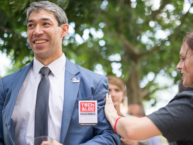 Councilman (D8) Ron Nirenberg gets patted on the shoulder by Kara Gomez. Photo by Scott Ball.