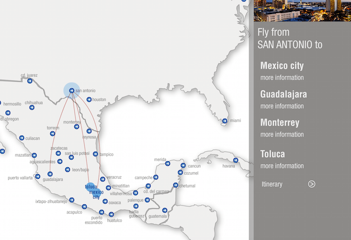A map showing outgoing Interjet lights from San Antonio.  Courtesy of www.interjet.com.