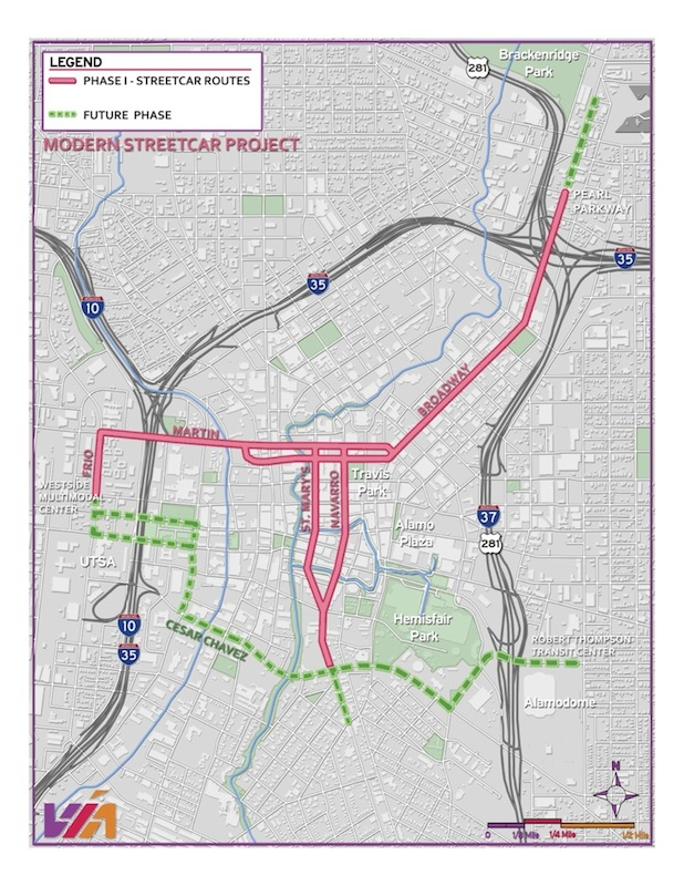Map of the proposed streetcar lines.