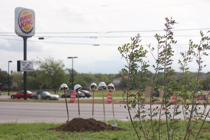 Shovels sit stationary before the Tezel Road celebration. Photo by Joan Vinson.