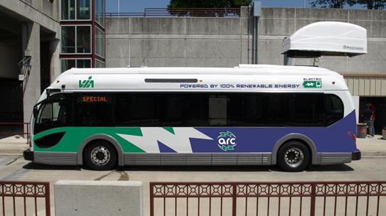 VIA Metropolitan Transit has three EcoRide electric buses manufactured by Proterra. Photo courtesy of VIA.
