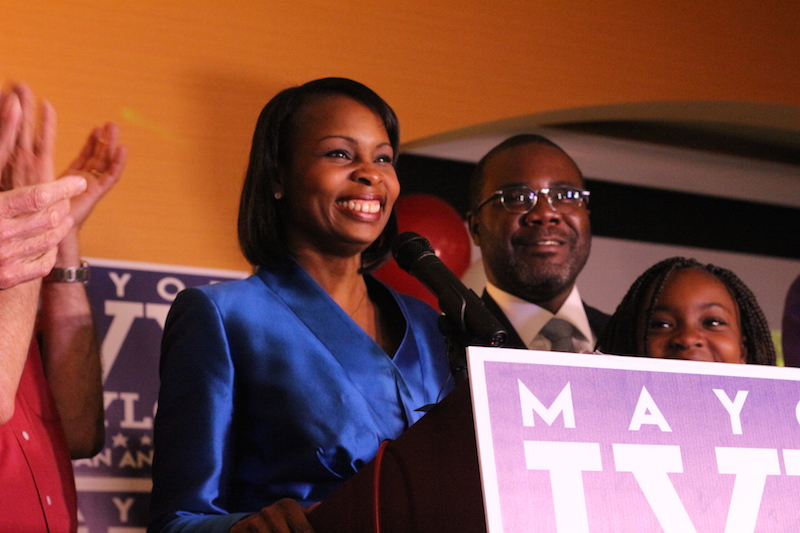 Elected Mayor Ivy Taylor gives a speech at her election party. Photo by Joan Vinson.