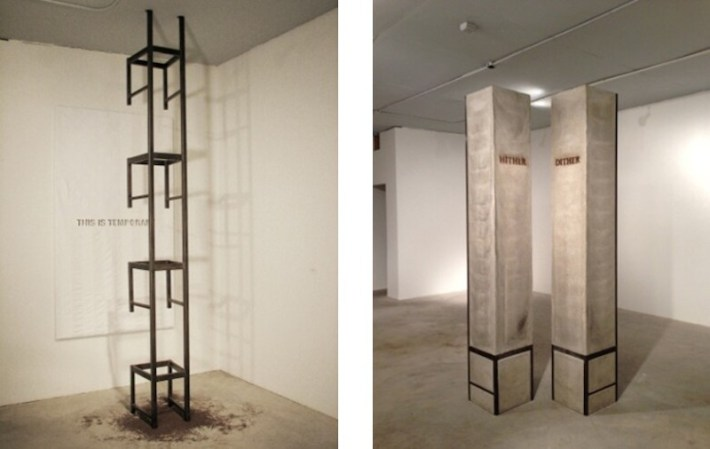 """Work by Benjamin McVey: (left)""""Hither, Dither,"""" 2012, concrete, steel and wood, 110 x 17 x 17 in. each, 2000 lb. each and (right) """"This Is Temporary,"""" 2012, U.S. flag, paint, steel, 144 x 51 x 28 in."""