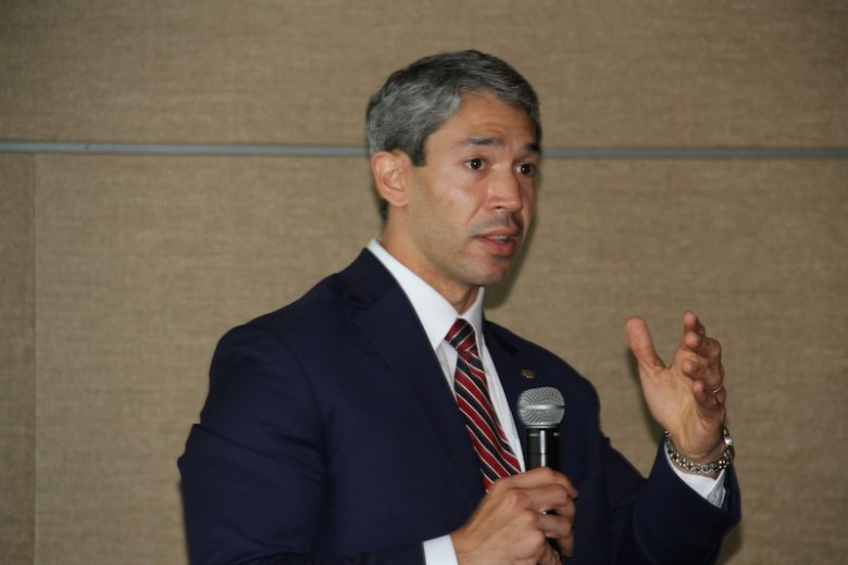 Councilmember Ron Nirenberg (D8) speaks to the crowd. Photo courtesy of the City of San Antonio.