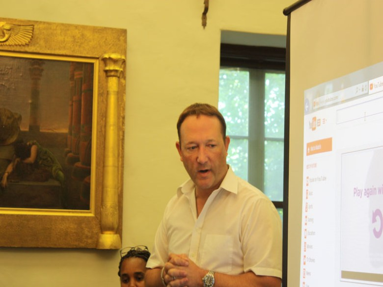 Keith Wichinski, a local health care provider, provides a brief introduction to his film. Photo by Kay Richter.