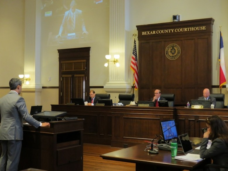 Councilmember Ron Nirenberg (D8) testifies to the County Commissioners Court, calling for support of municipal broadband on Tuesday, June 23, 2015. Photo courtesy of Nirenberg's office.