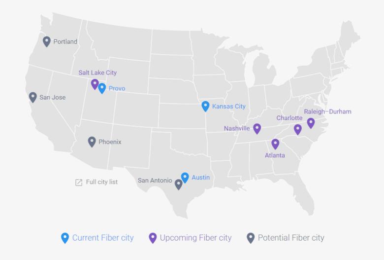 Google fiber cities as of June 2015. Screen capture.