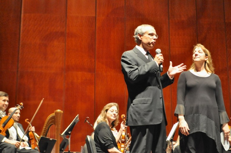 David Kinder, chair of the SA Symphony Board, announces the new contract with Lauren Eberhart, SA Symphony second trumpet. Photo by Iris Dimmick.