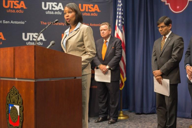 Mayor Ivy Taylor addresses the media. Photo by Scott Ball.