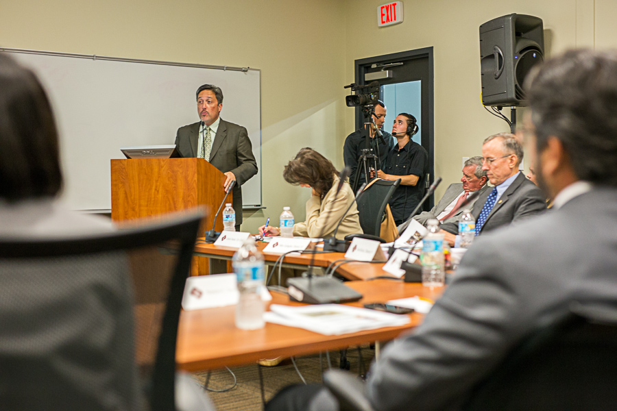 Mark Carmona speaks to the council. Photo by Scott Ball.