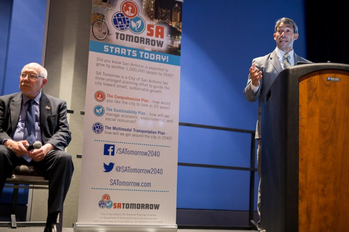 District 8 Councilman Ron Nirenberg speaks at the fireside chat. Photo by Scott Ball.