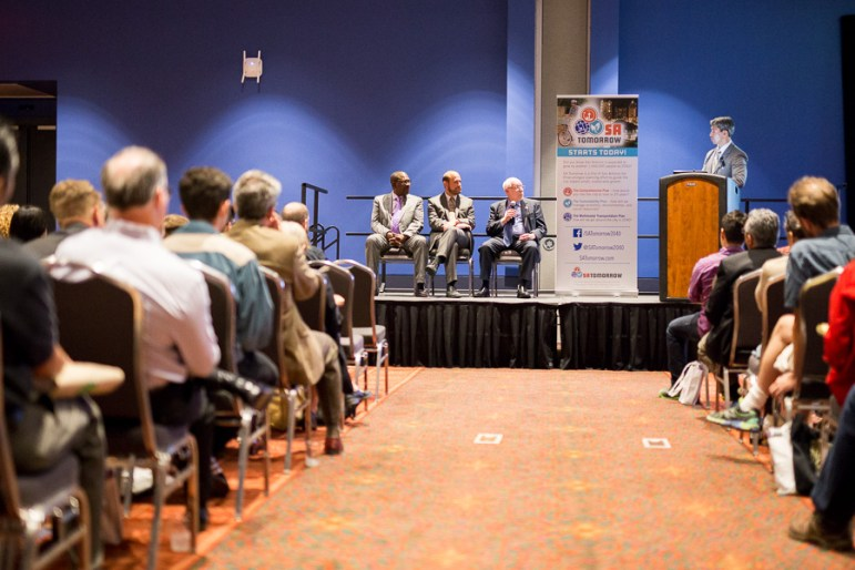 Ron Nirenberg (right) moderates a panel Terry Bellamy (left), Douglas Melnick (middle), and John Dugan (right). Photo by Scott Ball.