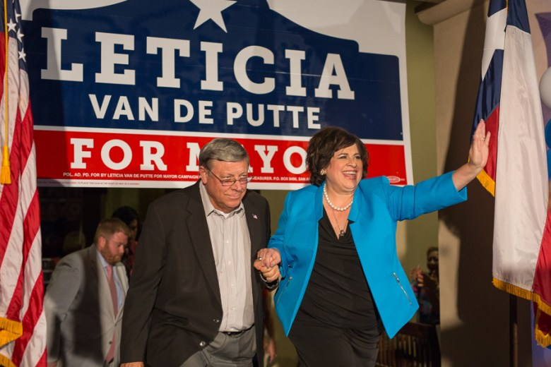 Leticia Van de Putte  and her husband Pete Van de Putte walks out to give a concession speech at her election party.  Photo by Scott Ball.