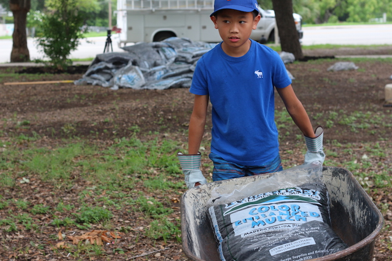Ivan Chen spreads mulch at Woodlawn Park on Tuesday. Photo by Joan Vinson.