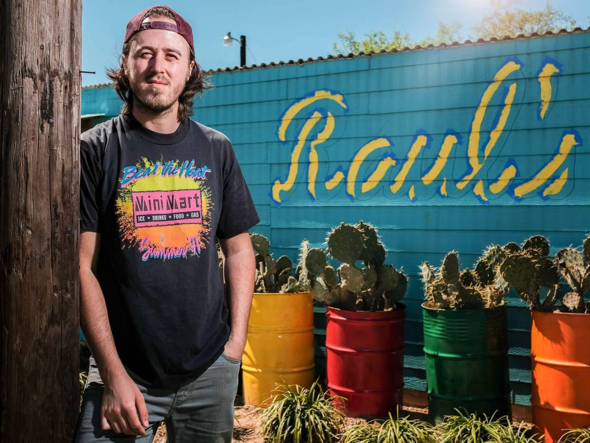 Raul Vela of Raul' Enchilacos poses for a photo outside the restaurant. Photo by Scott Ball.