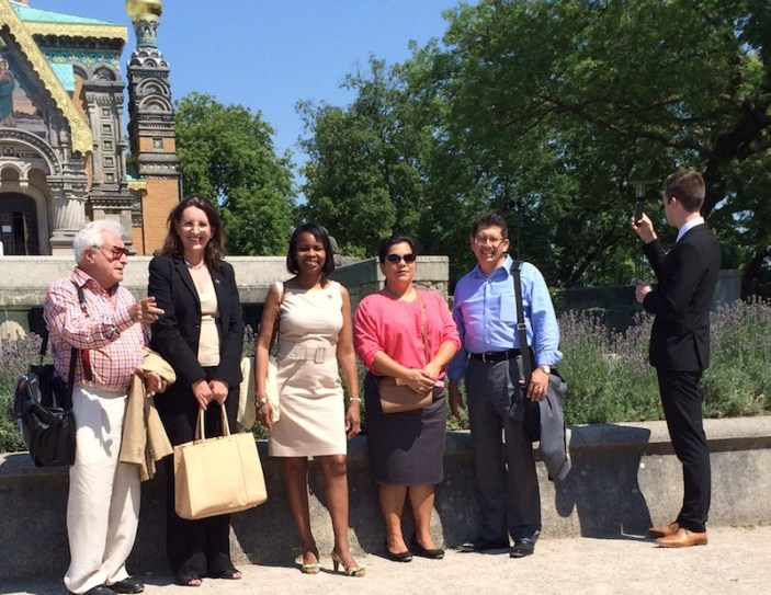 From left: Dr. Alfonso Chiscano, Chief of Protocol and Head of International Relations Sherry Dowlatshahi, Mayor Ivy Taylor, Councilmember Rebecca Viagran (D3), San Antonio Chamber of Commerce President and CEO Richard Perez, and International Relations Communications Specialist Jean-Luc Mette visit the Darmstadt Artists' Colony, a potential 2019 UNESCO World Heritage Site, before meeting with the Lord Mayor of Darmstadt to sign a letter of intent to explore collaboration in areas of common interest. Courtesy photo.