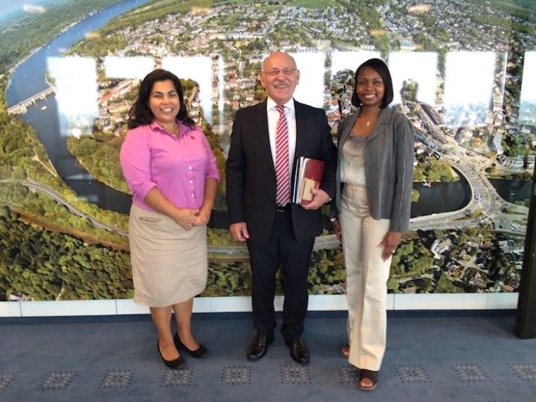(From left) Rebecca Viagran (D3), Essen Deputy Mayor Rudolf Jelinek, San Antonio Mayor Ivy Taylor in Essen, Germany.  Photo by Jean-Luc-Mette.