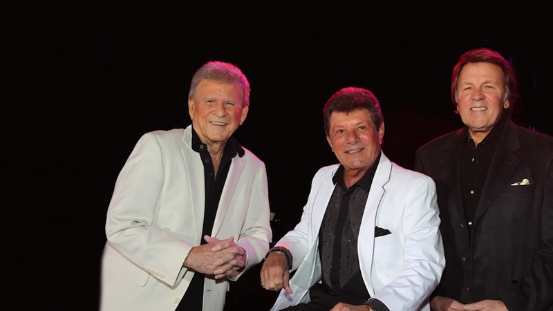 """From left: Bobby Rydell Frankie Avalon, and Fabian perform together as """"The Golden Boys."""" Photo courtesy of the Tobin Center for the Performing Arts."""