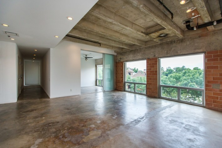 Looking out through a living room at St. Benedict's Lofts. Courtesy photo.