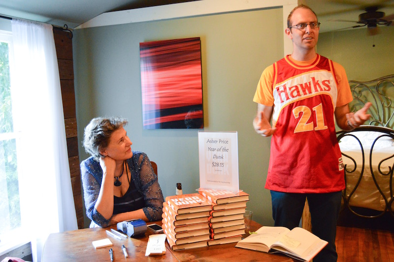 """Author Asher Price introduces his memoir """"The Year of the Dunk""""at a local Twig Book Shop signing. Photo by Lea Thompson."""