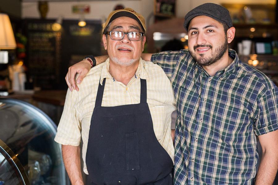 Giberto De Hoyos and his son Gilberto Jr. pose for a photo. Photo by Scott Ball.