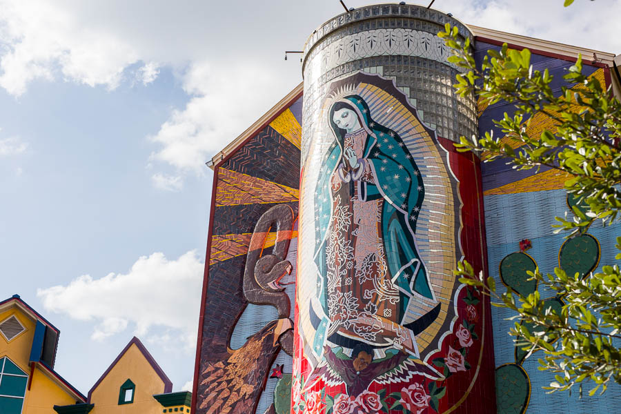 The mural titled 'La Veladora' by local artist Jesse Trevino located outside the Guadalupe Cultural Arts Center. Photo by Scott Ball.