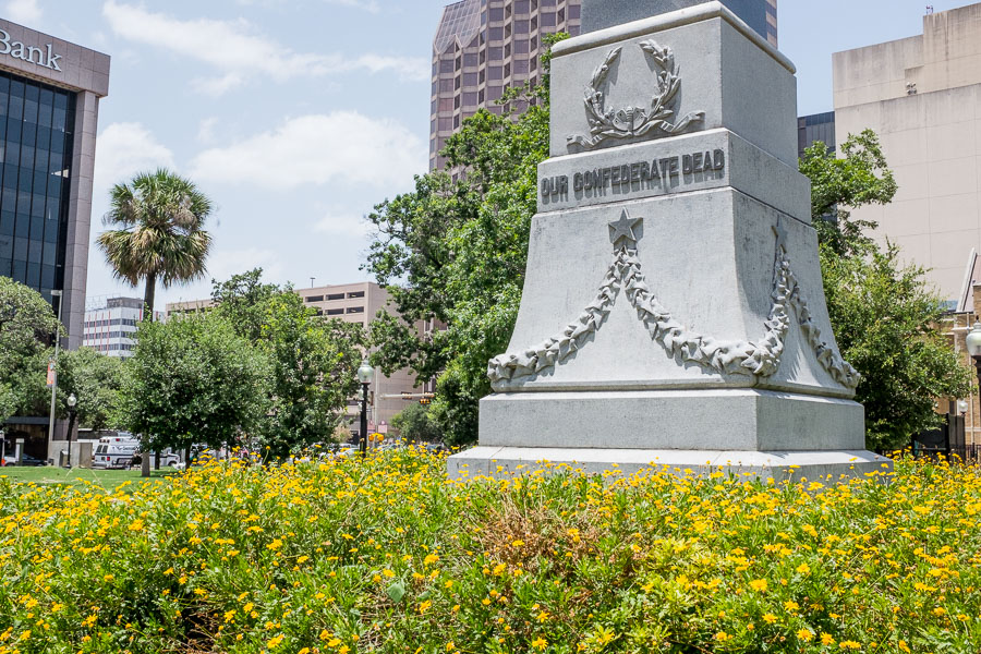 Detail of the monument in Travis Park dedicated to fallen Confederate soldiers. Photo by Scott Ball.