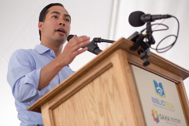 Secretary of Housing and Urban Development, Julian Castro speaks to the crowd. Photo by Scott Ball.